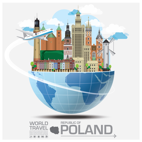 Poland famous tourist attractions concept vector