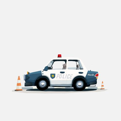 Police car cartoon illustration vector