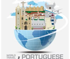 Portuguese famous tourist attractions concept vector