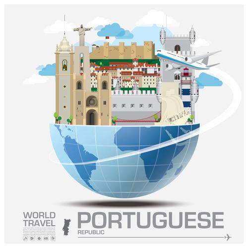Portuguese famous tourist attractions concept vector