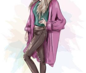 Posing girl watercolor illustration vector