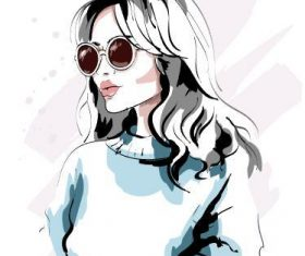 Pretty woman watercolor illustration vector