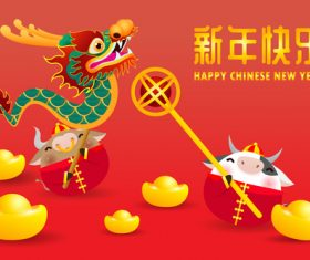 Prosperous Chinese New Year greeting card vector