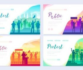 Protest colorful cards banner vector