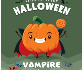 Pumpkin cartoon halloween poster design vector