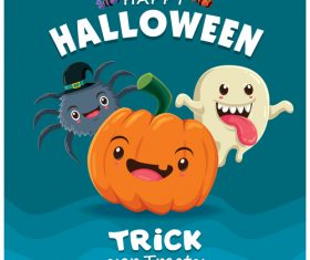 Pumpkin spider ghost halloween poster design vector