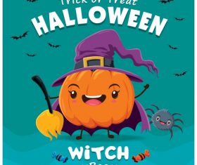 Pumpkin wizard halloween poster design vector