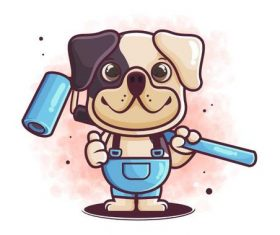 Puppy worker cartoon icon vector