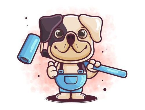 Puppy worker cartoon icon vector