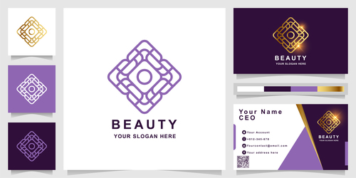 Purple plaid cover company logo design vector