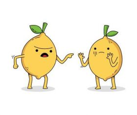 Quarreling lemon cartoon vector