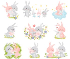 Rabbit family cartoon vector