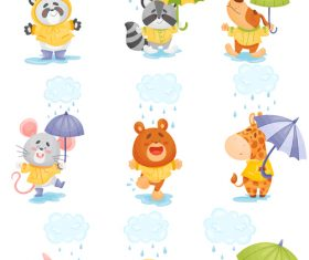 Rainy day cute animal cartoon vector