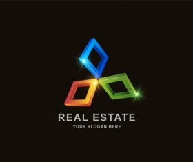 Real estate 3d square pattern design vector