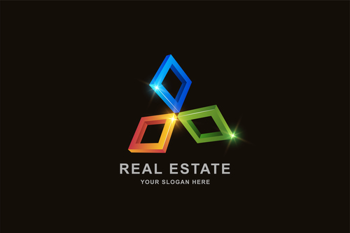 Real estate 3d square pattern design vector