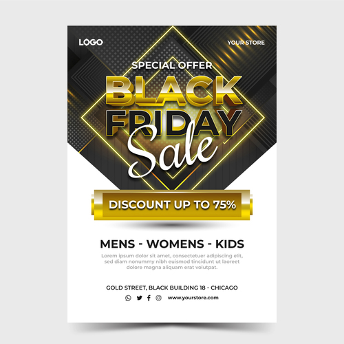 Realistic golden black friday sale poster template