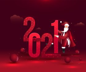 Red 2021 text and Santa design vector