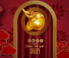 Red background chinese new year 2021 symbol bull vector