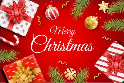 Red background christmas gifts and decorations vector