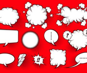 Red background white comic bubbles vector