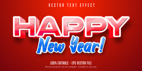 Red blue editable font effect vector