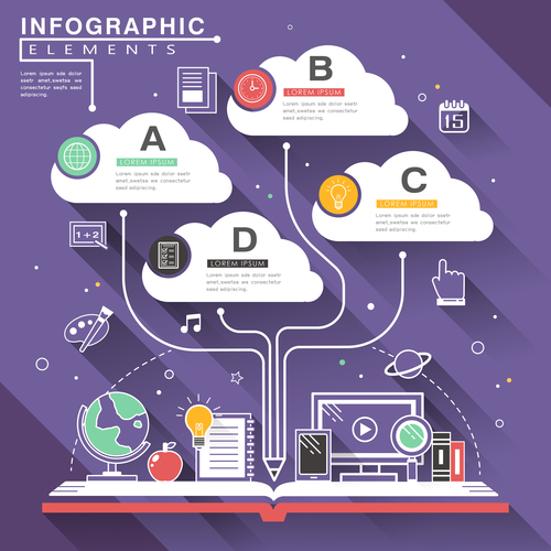 Remote teaching infographic option vector