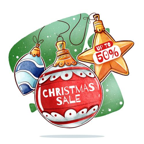 Retro Christmas sale label vector