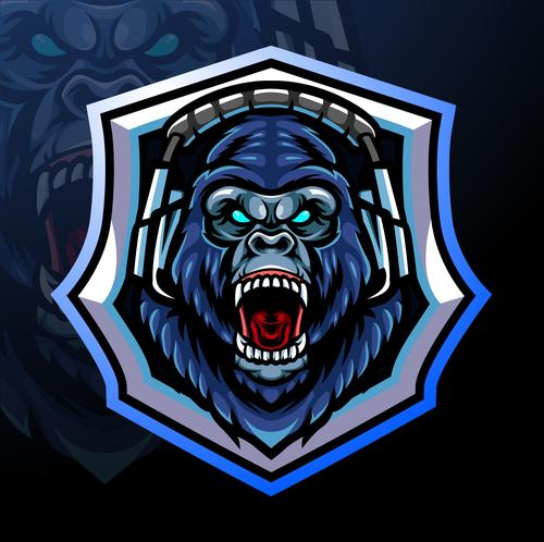 Roaring gorilla esport icon vector