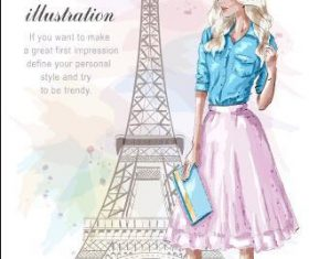 Romantic French woman watercolor illustration vector