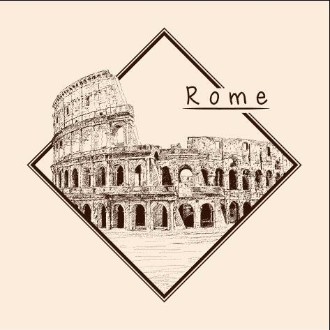 Rome architectural sketch vector