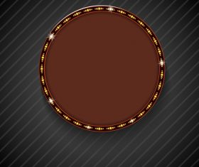 Round shiny billboard vector on black background