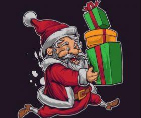 Running Santa icon vector