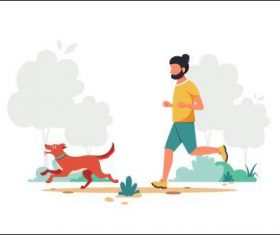 Running man walking dog cartoon illustration vector