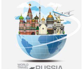 Russia famous tourist attractions concept vector