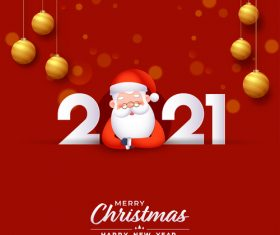 Santa Claus New Year 2021 colorful design vector