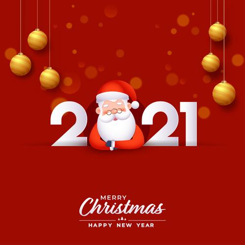 Santa Claus New Year 2021 colorful design vector