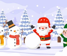 Santa Claus and kids making a snowman vector