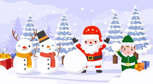 Santa Claus and kids making a snowman vector