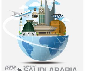 Saudi arabia famous tourist attractions concept vector