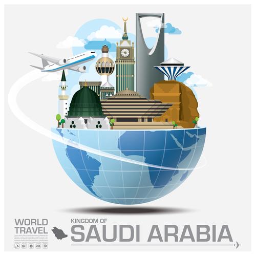 Saudi arabia famous tourist attractions concept vector