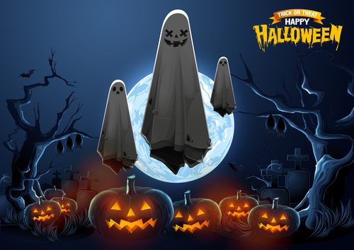 Scary ghost halloween background vector