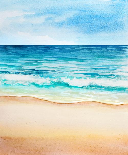 Sea watercolor illustrations vector