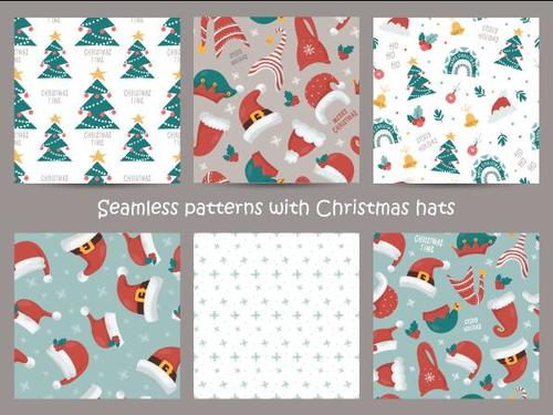 Seamless pattern with Christmas hats vector
