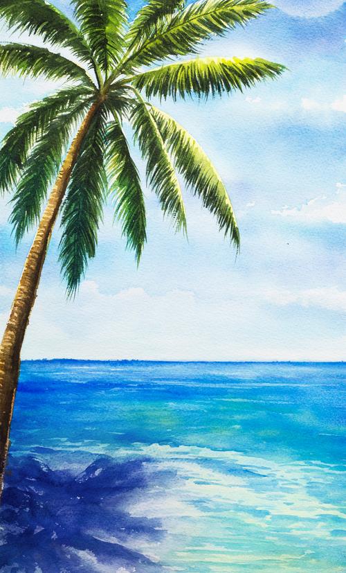 Seaside coconut tree watercolor illustrations vector