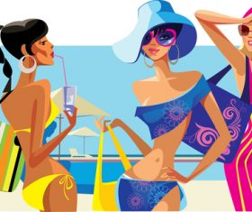 Seaside vacation woman vector