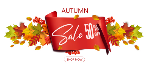 Seller promotion autumn poster vector