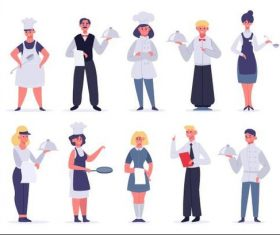 Service industry personnel cartoon illustration vector
