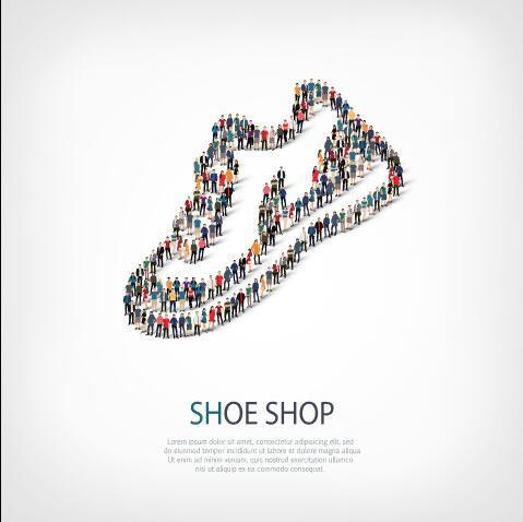 Shoe shop mix icon vector