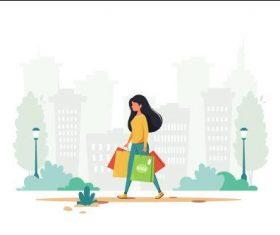 Shopping woman going home cartoon illustration vector