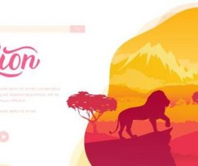 Silhouette illustration lion vector